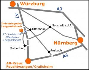 Wahlers Forsttechnik Uffenheim - Wegbeschreibung